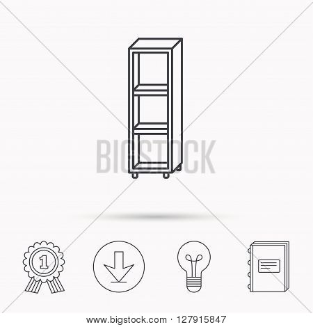 Empty shelves icon. Shelving sign. Download arrow, lamp, learn book and award medal icons.