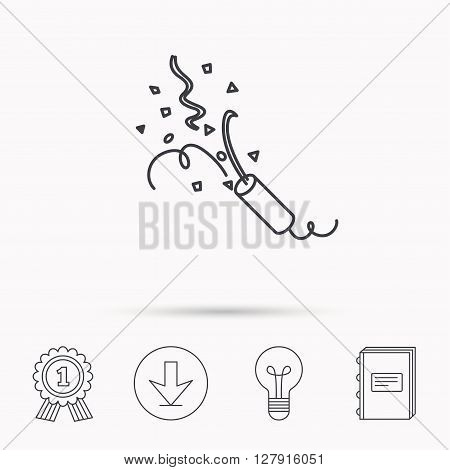 Shooting slapstick icon. Celebration sign. Download arrow, lamp, learn book and award medal icons.