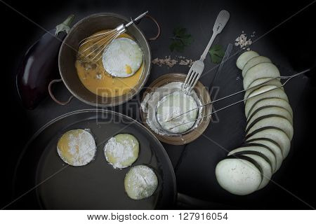 Preparation Of Fried Eggplant