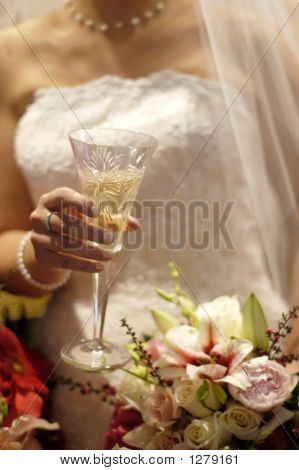 Bride Celebrating With A Toast