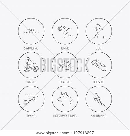 Swimming, tennis and golf icons. Biking, diving and horseback riding linear signs. Ski jumping, boating and bobsleigh icons. Linear colored in circle edge icons.