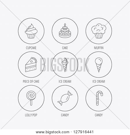 Cake, candy and muffin icons. Cupcake, ice cream and lolly pop linear signs. Piece of cake icon. Linear colored in circle edge icons.