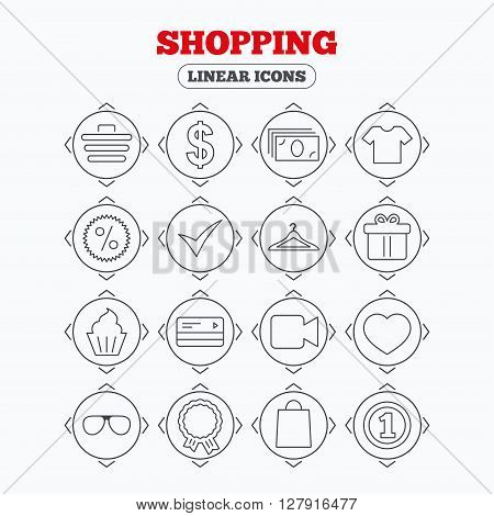 Linear icons with direction arrows. Shopping icons. Shopping cart, dollar currency and cash money. Shirt clothes, gift box and hanger. Credit or debit card. Circle buttons.