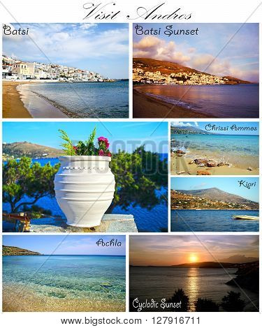 visit Andros collage Cyclades Greece - greek summer photos