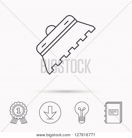 Trowel for tile icon. Spatula repair tool sign. Download arrow, lamp, learn book and award medal icons.