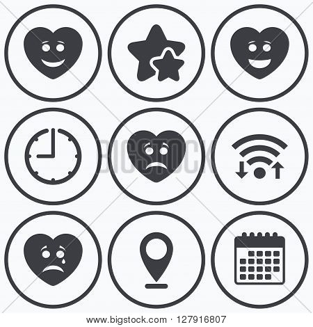 Clock, wifi and stars icons. Heart smile face icons. Happy, sad, cry signs. Happy smiley chat symbol. Sadness depression and crying signs. Calendar symbol.