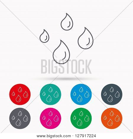 Water drops icon. Rain or washing sign. Rainy day symbol. Linear icons in circles on white background.