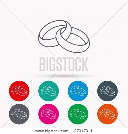 Wedding rings icon. Bride and groom jewelery sign. Linear icons in circles on white background.