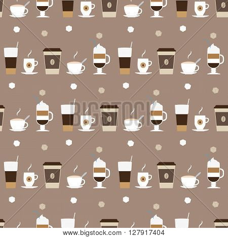 Coffee cups icons seamless pattern. Illustration of cappuccino irish coffee in a glass coffee in a paper cup macchiato latte in a tall glass.