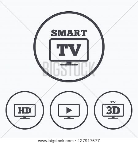 Smart TV mode icon. Widescreen symbol. High-definition resolution. 3D Television sign. Icons in circles.