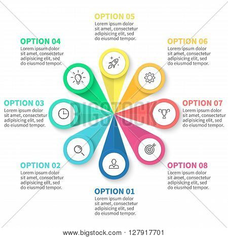 Infographics step by step with  petals. Diagram, chart with 8 steps, options, parts, processes. Vector business template for presentation.