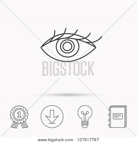 Eye icon. Human vision sign. Ophthalmology symbol. Download arrow, lamp, learn book and award medal icons.