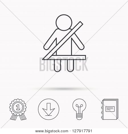 Fasten seat belt icon. Human silhouette sign. Download arrow, lamp, learn book and award medal icons.