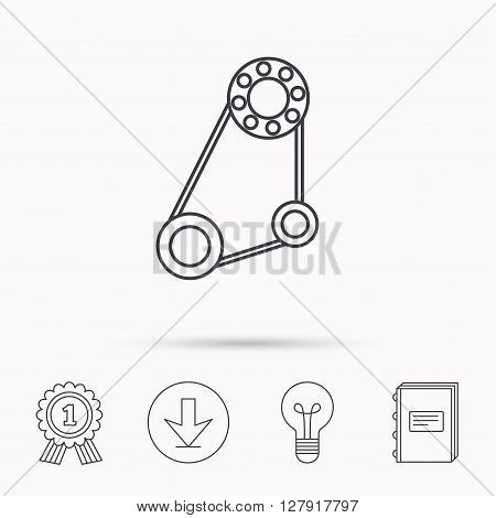 Timing belt icon. Generator strap sign. Repair service symbol. Download arrow, lamp, learn book and award medal icons.