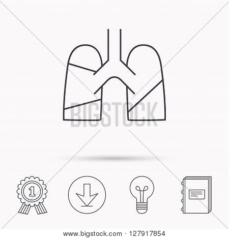 Lungs icon. Transplantation organ sign. Pulmology symbol. Download arrow, lamp, learn book and award medal icons.