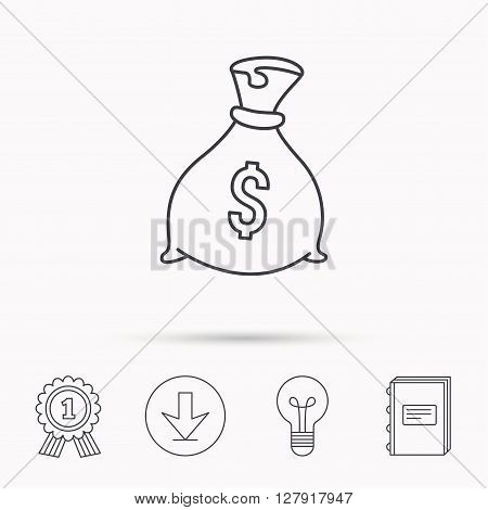 Sack with dollars icon. Money bag sign. Banking symbol. Download arrow, lamp, learn book and award medal icons.
