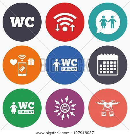 Wifi, mobile payments and drones icons. WC Toilet icons. Gents and ladies room signs. Man and woman speech bubble symbol. Calendar symbol.