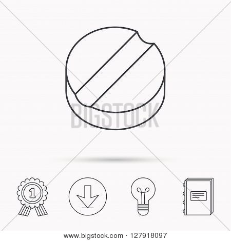Tablet icon. Medicine drug sign. Pharmaceutical cure symbol. Download arrow, lamp, learn book and award medal icons.