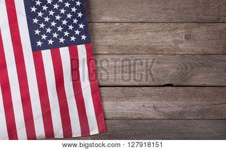 United States of America flag on a wooden background