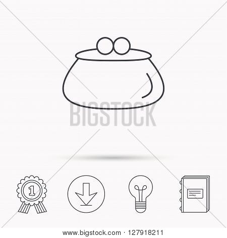 Vintage wallet icon. Cash money bag sign. Download arrow, lamp, learn book and award medal icons.
