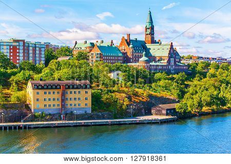 Scenic summer panorama of the Old Town pier architecture in Stockholm Sweden