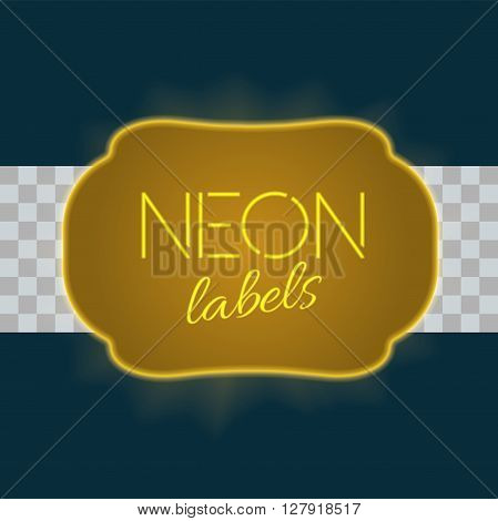 Vintage electric frame with bright neon lights. Gold neon light with transparent glow. A part three of collection. Very colorfull vintage label in traditional old style design. Vector illustration