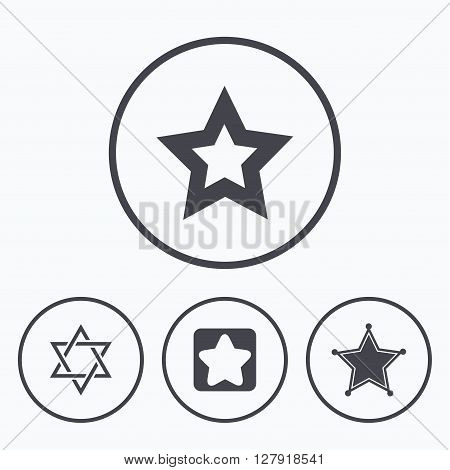 Star of David icons. Sheriff police sign. Symbol of Israel. Icons in circles.