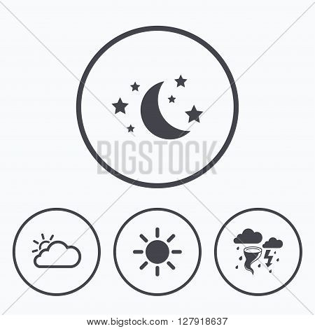 Weather icons. Moon and stars night. Cloud and sun signs. Storm or thunderstorm with lightning symbol. Icons in circles.