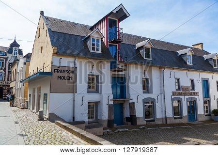 Valkenburg Netherlands - April 11 2016: historical watermill in the old town of Valkenburg. Valkenburg aan de Geul in the province Limburg is a popular tourist destination