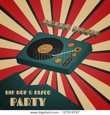 disco and hip hop party poster retro style