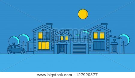 Linear vector illustration night city on blue background