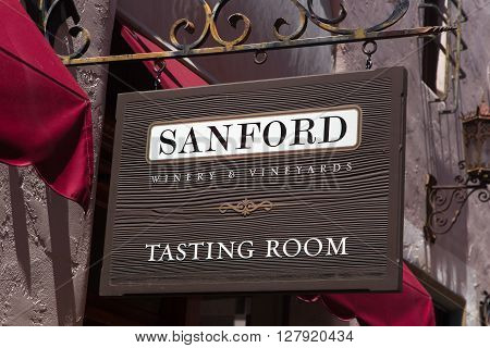 SANTA BARBARA CA/USA - APRIL 30 2016: Sanford Tasting Room exterior and logo. Sanford Wines are produced in Santa Barbara County California.