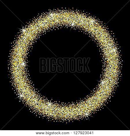 Gold glitter frame on a black background. Round frame of golden star dust. Abstract vector illustration