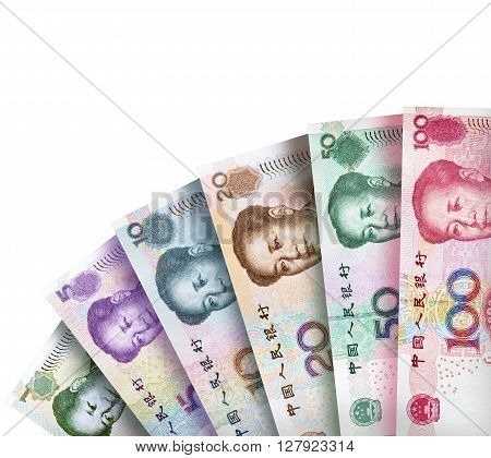 Chinese Yuan Bills creating a colorful background