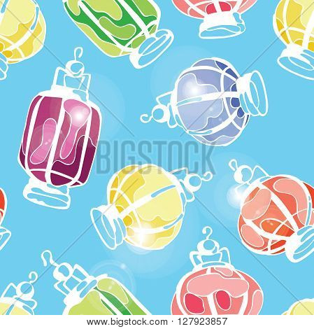 Paper Lanterns. Balloons paper lamps. Paper lanterns in different colors. White glowing light burst, bright flare. Glare. Vector seamless pattern (background).