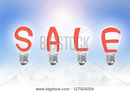 Light Bulbs In A Row With Sale Word