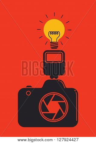 black camera and light bulb , idea and photo graphy