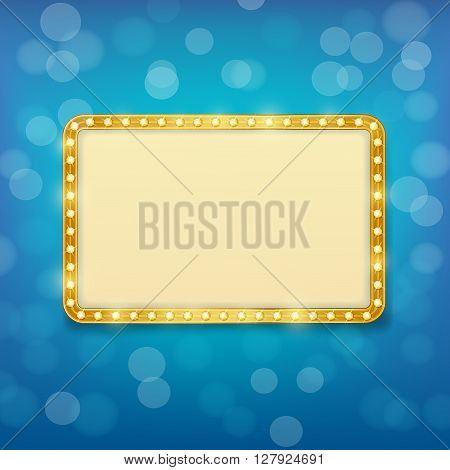 cinema golden frame with light bulbs on blurry blue background