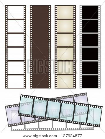 set of various types of film strips on white for Your design. vector illustration