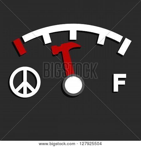 Hammer and fuel level , idea graphic