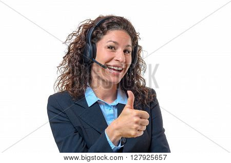 Enthusiastic Businesswoman Wearing A Headset