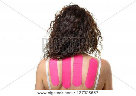 Rear View Of Woman With Strips On Her Back