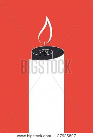 Paper candle on red screen , idea graphic