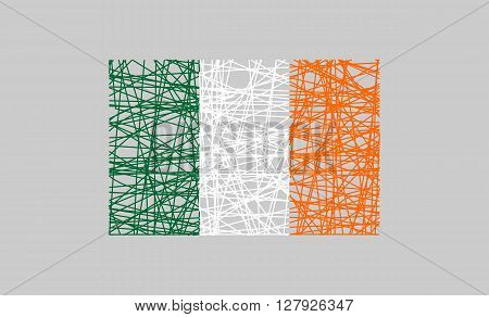 Ireland flag design concept. Flag painted by pencil strokes and country name. Image relative to travel and politic themes