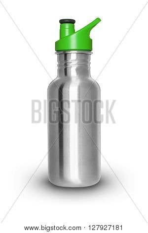 Shiny aluminum bottle isolated on white background