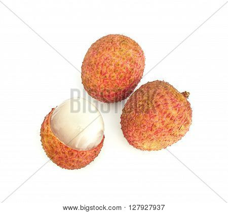 Ripe fruit of the lychee (Litchi chinensis) isolated on white background