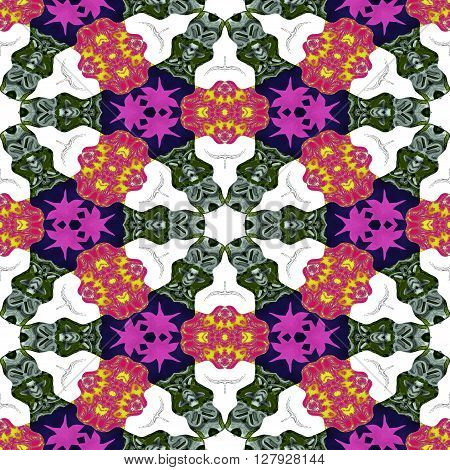 Kaleidoscopic ornamental abstract color pattern or background