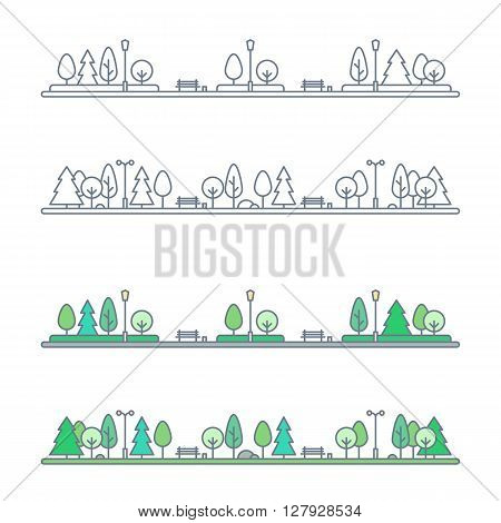 public park landscape. natural landscape with benches and trees. city park landscape. flat outline style. isolated on white background. vector illustration