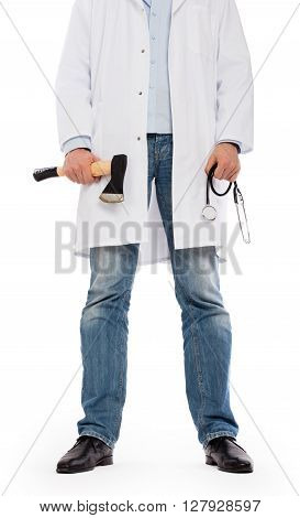 Evil Medic Holding A Small Axe And Stethoscope