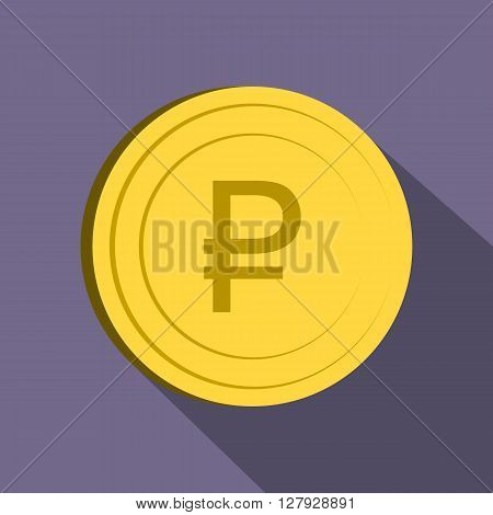 Ruble icon in flat style on purple background